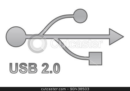 Usb sign for interface electronic hardware. stock vector clipart, Usb sign for interface electronic hardware. by mozzyb