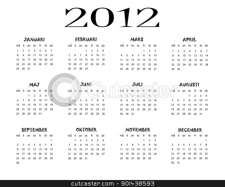 Swedish calendar stock vector clipart, swedish calendar of 2012 year by elaplan