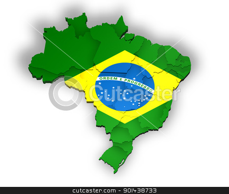 Three dimensional map of Brazil stock photo, Three dimensional map of Brazil by marphotography