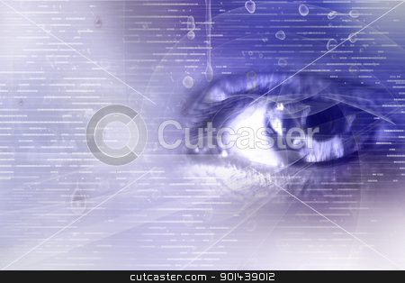 Digital eye	 stock photo,  Digital illustration of an eye scan as concept for secure digital identity by dileep