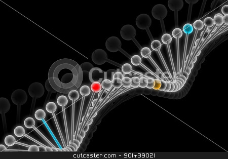 3d illustration of DNA in abstract background stock photo, 3d illustration of DNA in abstract background by dileep