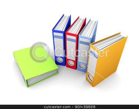 Colored Folders stock photo, 3D rendered Illustration. Isolated on white. by Michael Osterrieder