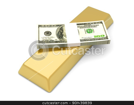 Commodities and Cash stock photo, Commodities and cash investments. 3D rendered Illustration. Isolated on white. by Michael Osterrieder
