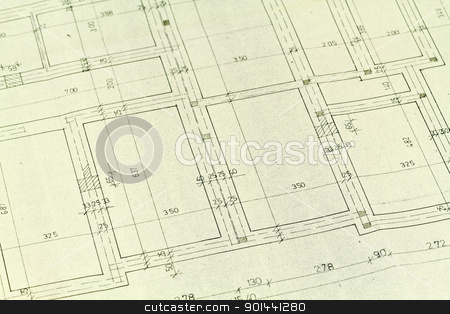 Blueprints stock photo, Blueprints detail background, architectural project  by Nikola Cvetanovski