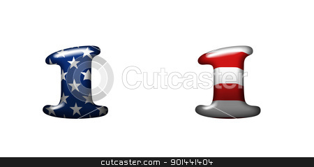 Exclusive collection letters with american stars and stripes  stock photo, Exclusive collection letters with american stars and stripes isolated on white background - 1 by mozzyb