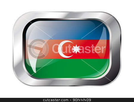 azerbaijan shiny button flag vector illustration. Isolated abstr stock vector clipart, azerbaijan shiny button flag vector illustration. Isolated abstract object against white background. by mozzyb