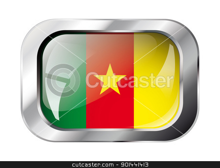 cameroon shiny button flag vector illustration. Isolated abstrac stock vector clipart, cameroon shiny button flag vector illustration. Isolated abstract object against white background. by mozzyb