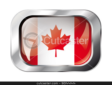 canada shiny button flag vector illustration. Isolated abstract  stock vector clipart, canada shiny button flag vector illustration. Isolated abstract object against white background. by mozzyb