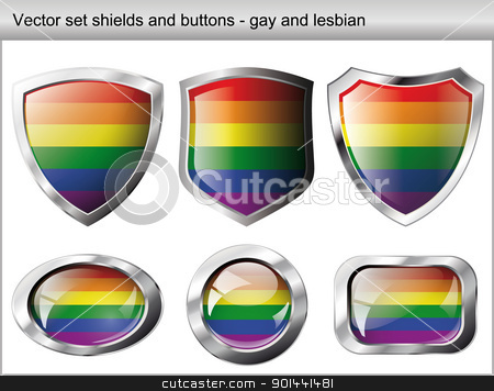 Vector illustration set. Shiny and glossy shield and button for  stock vector clipart, Vector illustration set. Shiny and glossy shield and button for gay community. Abstract objects isolated on white background. by mozzyb