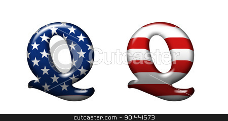 Exclusive collection letters with american stars and stripes iso stock photo, Exclusive collection letters with american stars and stripes isolated on white background - Q by mozzyb