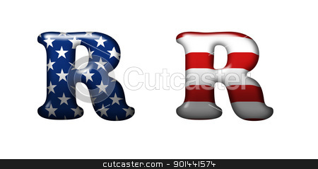 Exclusive collection letters with american stars and stripes iso stock photo, Exclusive collection letters with american stars and stripes isolated on white background - R by mozzyb