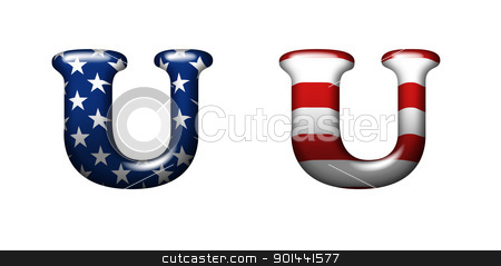Exclusive collection letters with american stars and stripes iso stock photo, Exclusive collection letters with american stars and stripes isolated on white background - U by mozzyb