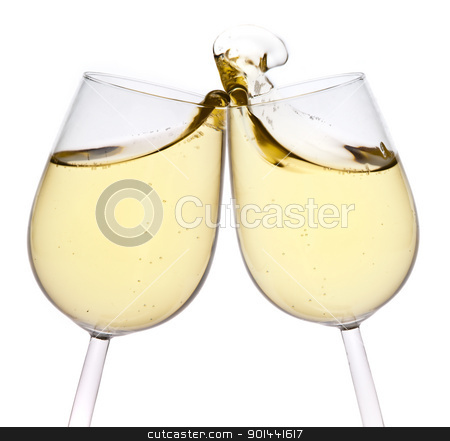Merry Christmas and happy New year. Pair of champagne flutes mak stock photo, Merry Christmas and happy New year. Pair of champagne flutes making a toast, isolated on white background. by mozzyb