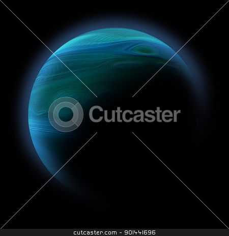 Abstract planet with sun flare in deep space - star nebula again stock photo, Abstract planet with sun flare in deep space - star nebula against black background by mozzyb