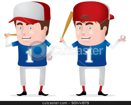 Baseball Player stock vector clipart, A confident baseball/softball player. Fully editable EPS file format.  by puruan