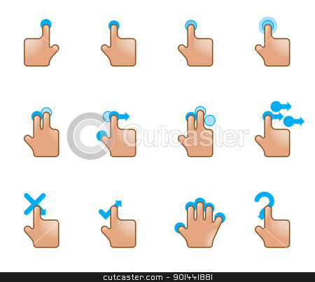 Web Icons - Touch Gestures stock vector clipart, A set of hand icons on a touchpad. Fully editable EPS file format. by puruan