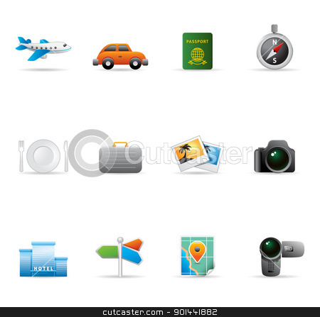 Web Icons - Travel stock vector clipart, Travel icon set. Fully editable EPS file format. by puruan