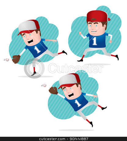 Baseball Player in Action stock vector clipart, A confident professional baseball player in action. Fully editable EPS file format.  by puruan