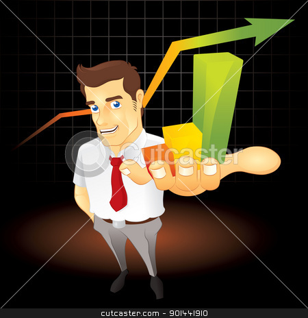 More Great Achievement stock vector clipart, Businessman presenting a nice bar chart. Fully editable EPS file format.  by puruan