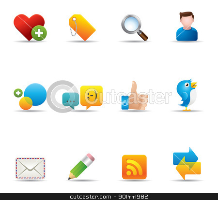 Web Icons - Social Network stock vector clipart, Social network icon set.  by puruan