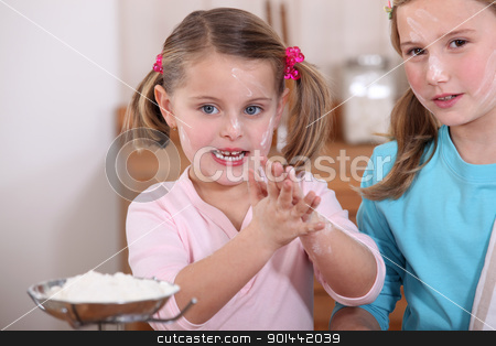 Children baking in the kitchen stock photo, Children baking in the kitchen by photography33
