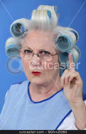 Old woman waving her finger in disapproval stock photo, Old woman waving her finger in disapproval by photography33