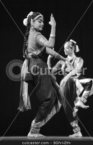 Indian BharataNatyam dancers stock photo, CHENGDU - OCT 24: Indian folk dance