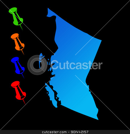 British Columbia travel map stock photo, Canadian state of British Columbia travel map with push pins on black background. by Martin Crowdy