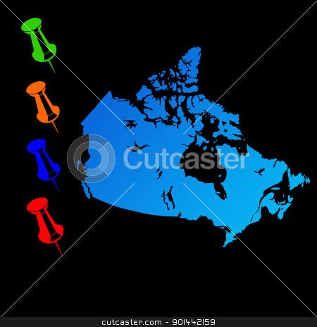 Canada travel map stock photo, Canada travel map with push pins on black background. by Martin Crowdy