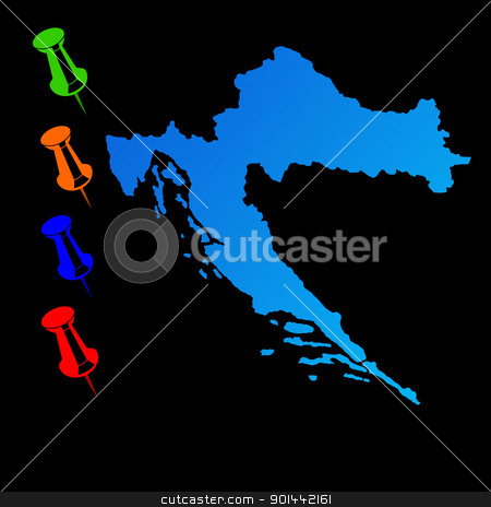 Croatia travel map stock photo, Croatia travel map with push pins on black background. by Martin Crowdy