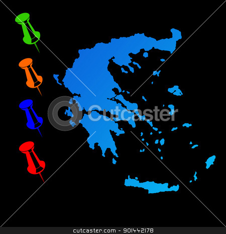 Greece travel map stock photo, Greece travel map with push pins on black background. by Martin Crowdy