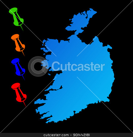 Ireland travel map stock photo, Ireland travel map with push pins on black background. by Martin Crowdy