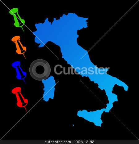 Italy travel map stock photo, Italy travel map with push pins on black background. by Martin Crowdy