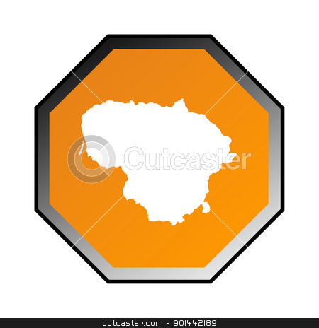 Lithuania sign stock photo, Lithuania road sign isolated on a white background. by Martin Crowdy