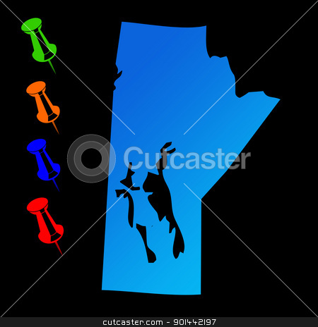Manitoba travel map stock photo, Canadian state of Manitoba travel map with push pins on black background. by Martin Crowdy