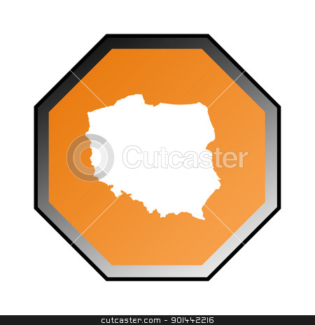 Poland stock photo, Poland road sign isolated on a white background. by Martin Crowdy