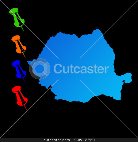 Romania travel map stock photo, Romania travel map with push pins on black background. by Martin Crowdy