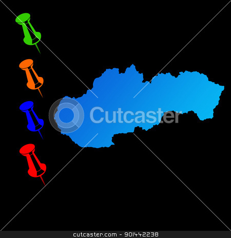 Slovakia travel map stock photo, Slovakia travel map with push pins on black background. by Martin Crowdy