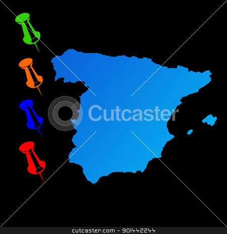 Spain travel map stock photo, Spain travel map with push pins on black background. by Martin Crowdy