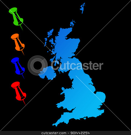United Kingdom stock photo, United Kingdom travel map with push pins on black background. by Martin Crowdy