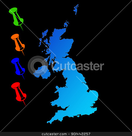 UK travel map stock photo, UK or England travel map with push pins on black background. by Martin Crowdy