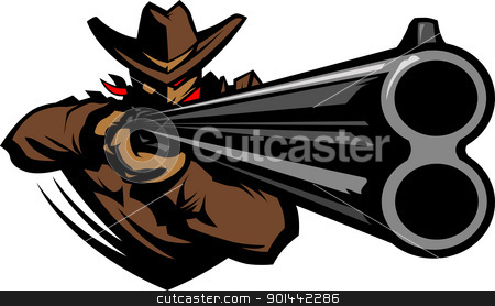 Cowboy Mascot Aiming Shotgun Vector Illustration stock vector clipart, Graphic Mascot Vector Image of a Cowboy Shooting a Rifle by chromaco