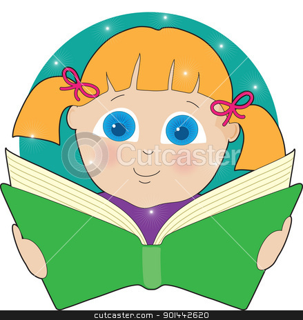 Child Reading stock vector clipart, A bright eyed girl in pigtails is fascinated by the contents of the open book she is reading. by Maria Bell