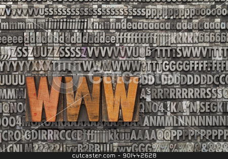 www - world wide web stock photo, www acronym - internet concept  - text in vintage wood letterpress printing blocks against grunge metal typeset by Marek Uliasz