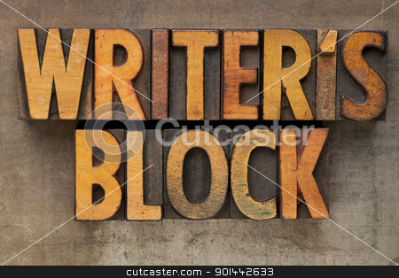writer block in letterpress type stock photo, writer block - text in vintage wood letterpress printing blocks stained by color inks on a grunge metal tray by Marek Uliasz