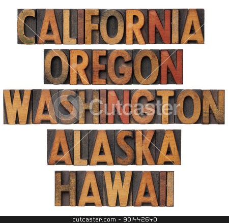 California and Pacific states stock photo, California , Oregon, Washington, Alaska and Hawaii - USA Pacific states - collage of isolated words in vintage wood letterpress printing blocks with color ink patina by Marek Uliasz