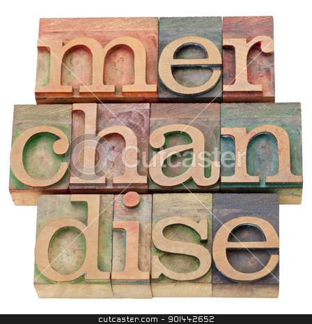 merchandise word in letterpress type stock photo, merchandise - isolated text in vintage wood letterpress printing blocks by Marek Uliasz