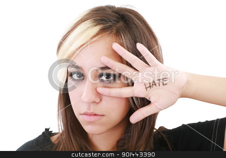 Close up shot of a angry teenager, isolated on white background  stock photo, Close up shot of a angry teenager, isolated on white background  by dacasdo