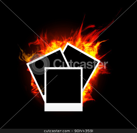 Burning photo frame stock photo, Burning photo frame on black background. Vector illustration by sermax55