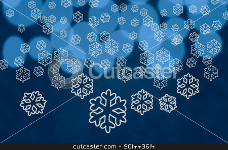 Snowflake shapes against tree lights stock photo, White snowflake shapes dropping in front of blue out of focus christmas tree lights by Steven Heap